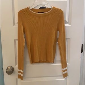 Women's S Tight Ribbed Yellow Top